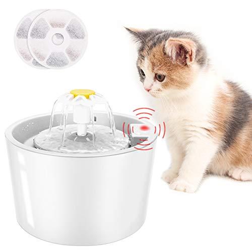 Coquimbo Katzen Trinkbrunnen, 1.6L Wasserspender für Katzen und Hund mit LED Sensor-Funktion, 3 Modi Cat Trinkbrunnen für Haustiere mit 2 Stück Hygienefilter (Weiß)