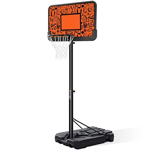 MaxKare Portable Basketball Hoop Basketball Goal Basketball System Height Adjustable 7ft 6in-10ft with 44 Inch Backboard & Wheels Basketball Court Equipment for Kids Adults Indoor Outdoor Backyard Use