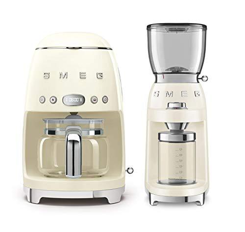 Smeg DCF02CRUS 50's Retro Style Drip Filter Coffee Maker Bundle with Smeg CGF01CRUS Coffee Grinder - Cream