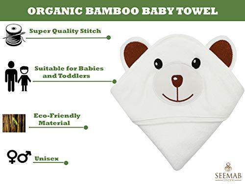 Biologische bamboe baby/peuters capuchon handdoek - extra zachte Unisex - perfect cadeau (bruine beer)