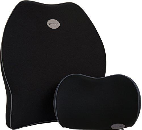 Travel Ease Kit di Cuscino lombare e Cuscino del collo di Premium schiuma di memoria (nero)