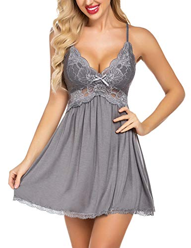 Avidlove Women Chemise Nightgown Lace Modal Sleepwear V-Neck Full Slip Babydoll Nightgowns (Grey,XXL)