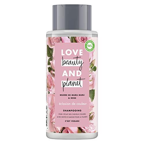 Love Beauty & Planet Shampooing Femme Vegan Eclosion de Couleur, Beurre de Muru Muru et Rose, Formule pour Cheveux Colorés Certifié Vegan 400ml