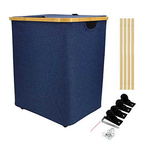 Cherish Upgrade Large Laundry Hamper Collapsible Hampers for Laundry 17.7'×13.8'×19.7' - Laundry Basket with Wheels Easy to Carry - Square Clothes Hamper with Dual Handles for Dorm Room Decor