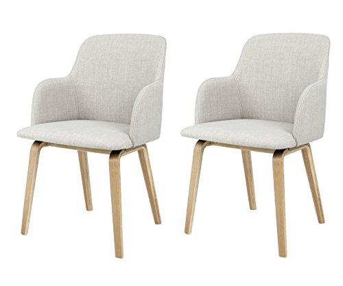 Preisvergleich Produktbild Tenzo 3370-207 Tequila 2-er set Designer Stühle Mary,  81 x 51 x 55 cm,  hellgrau / eiche