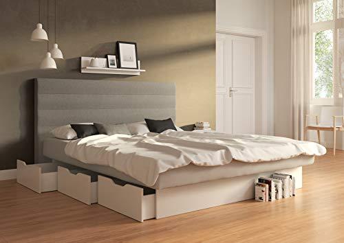 SuMa - Doppel-Wasserbett 200x200 dual mit 6 großen Schubladen im Sockel und Kopfteil Largo, Farbe lightgrey 200x200 cm - 11 Farben wählbar