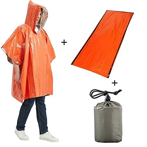 Sizet Emergency Survival Poncho Wärmereflektierendes Deckenset, Poncho wasserdichter thermischer Notfallregenmantel mit Erste-Hilfe-Decke und tragbarer Tasche