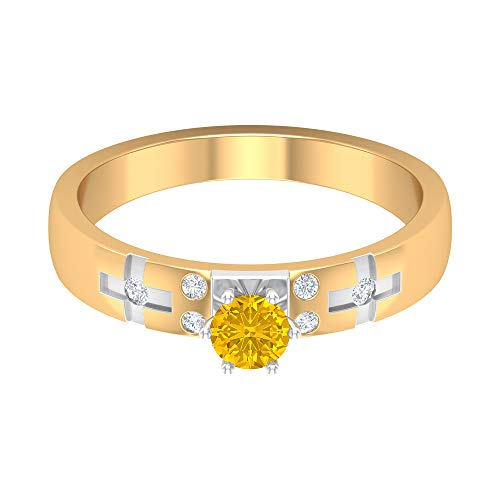 Rosec Jewels 18 quilates oro blanco redonda round-brilliant-shape H-I Yellow Diamond zafiro sintético amarillo