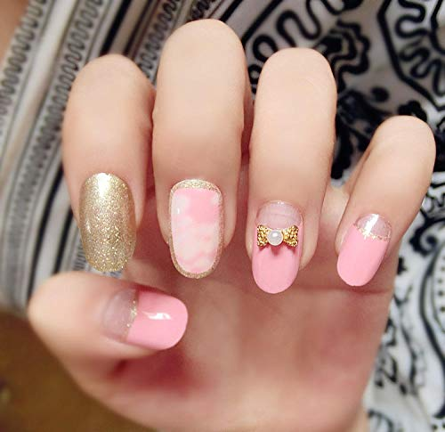 CLOAAE Japanese style shiny golden and pink fake nails with bow decoration short cute fake nails