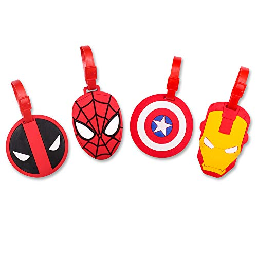 Finex 4 Pcs Set Comic Superhero Head Spiderman Deadpool Ironman Silicone Travel Luggage Baggage Identification Labels ID Tag for Bag Suitcase Plane Cruise Ships with Belt Strap