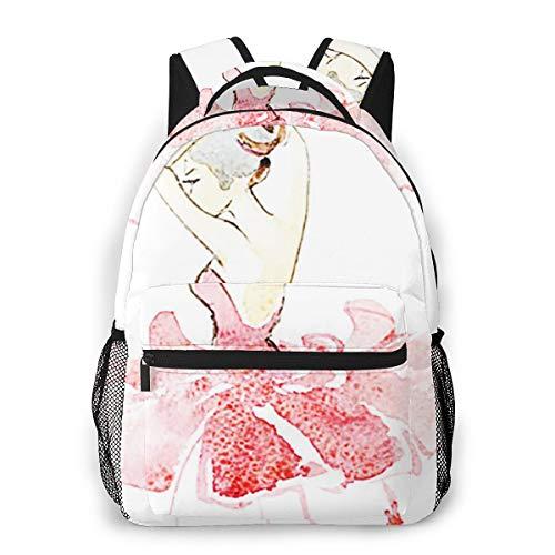 Laptop Rucksack Schulrucksack Ballett Ballerina farbige Mode, 14 Zoll Reise Daypack Wasserdicht für Arbeit Business Schule Männer Frauen
