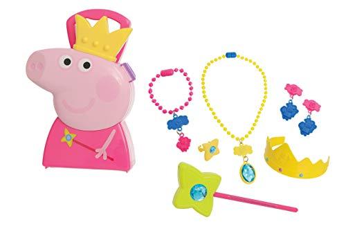Jamara 410096 Koffer Schmuck-7-Teiliges Schmuckkofferset, Stabiler und handlicher Tragekoffer, Kindgerechte Schmuck-Utensilien für Prinzessin-Rollenspiele, niedliches Peppa Pig Design, rosa