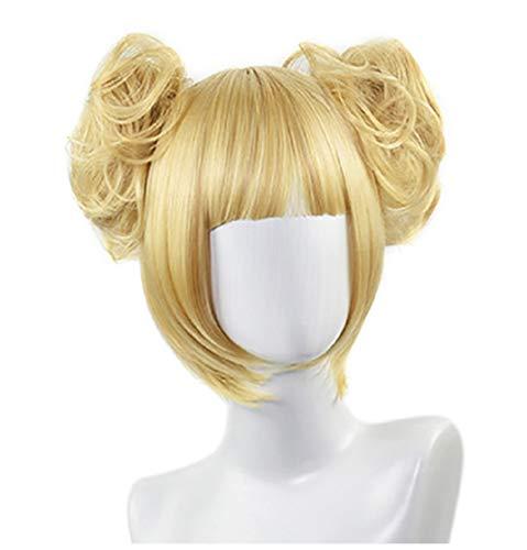C-ZOFEK My Hero Academia Toga Himiko Cosplay Wig With 2 Bun Clips (Blonde)