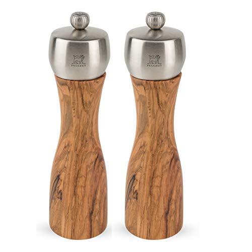 Peugeot Fidji 8-Inch Pepper & Salt Mill Set, Olive Wood