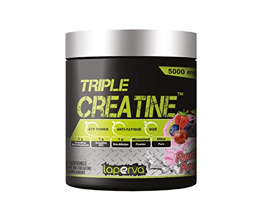 Laperva Triple Creatine 5000mg Amino Acid Powder Sports Supplements for ATP Power, Anti-Fatigue and Muscle Growth 60 Serving on a Pure Fruit Punch Flavor