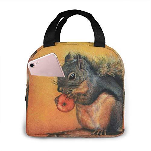 Kleine rote Eichhörnchen tragbare isolierte Lunch-Tasche Big Capacity Lunch Cooler Einkaufstasche für Picknick Schule Büroarbeit Lunchbox Organizer mit Fronttasche