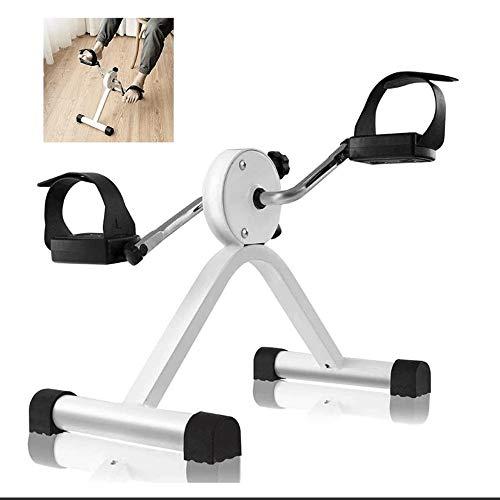 Big Shark draagbare hometrainer voor fietsen met instelbare weerstand, mini-oefeningsfiets voor armen en benen (wit)