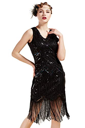 BABEYOND Damen Flapper Kleider voller Pailletten Retro 1920er Party Damen Kostüm Kleid Glamourös Schwarz, S