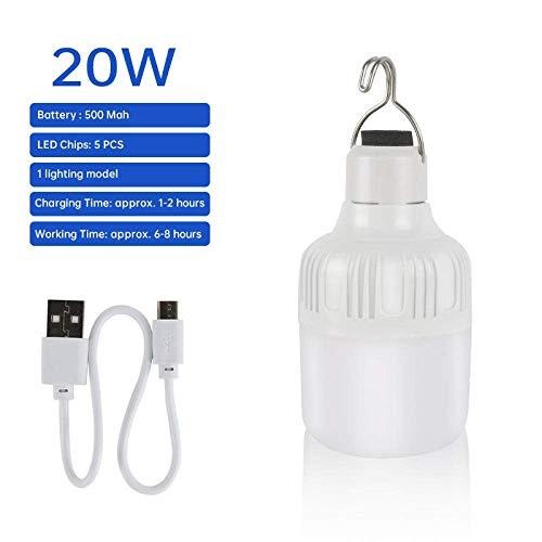 Camping Lichter Camping Leuchten und Laternen wiederaufladbare Licht bewegliche im Freien Birne USB aufladbare LED Notleuchten-Zelt-Lampe Batterie Laterne Bbq Camping Licht-40W yqaae ( Color : 20W )