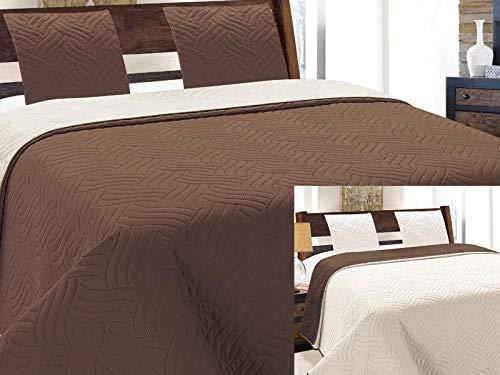 Zweiseitige Tagesdecke Gesteppt Bettüberwurf 3Tlg. 220x240 +2 Kissenbezüge Vigo Ecru Braun 11