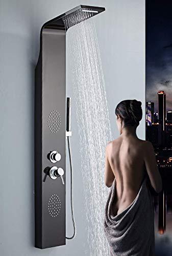 Colonna doccia idromassaggio 4 funzioni, soffione, cascata, getti idromassaggio e doccetta (NERO)