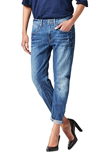Jeans G Star Arc 3D Low Waist Boyfriend Watton Denim Medium Aged Destroy - W25/L34, Bleu