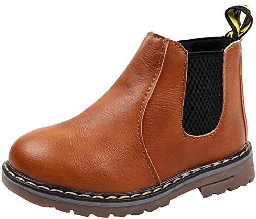PPXID Boys Girls British Waterproof Plush Inside Snow Boots Casual Ankle Boots-Brown 12.5 US Size