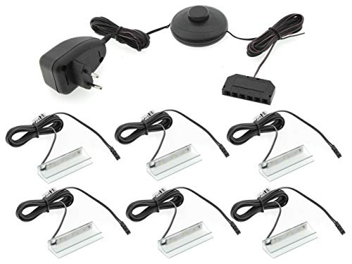 Iluminación LED para suelo de cristal, juego de 2, 4 o 6 clips LED, iluminación de vitrinas, iluminación de armarios, color azul y blanco frío, incluye fuente de alimentación LED de 230 V (6 unidades)