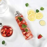 Cosumy Trinkflasche aus Glas mit Filzhülle für Unterwegs - 750ml Glasflasche - Auslaufsicher - Robustes Borosilikatglas - 3