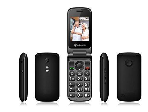 amplicomms PowerTel M6750, Klapphandy mit extra großen, beleuchteten Tasten & Notruftaste schwarz