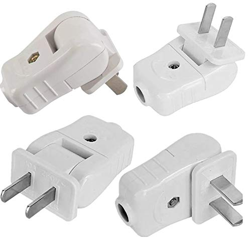 Light Duty, Straight Blade, Residential Polarized Plug, 2 Wire Plug,Non-Grounding, 2P, 2W, Plug ,15 Amp ,White, 4pack