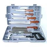 Pradel Excellence K31128 Koffer, 7-teilig, 4 Fleischermesser + 1 Wetzstahl + 1 Säge + 1 großes Fleischerbeil
