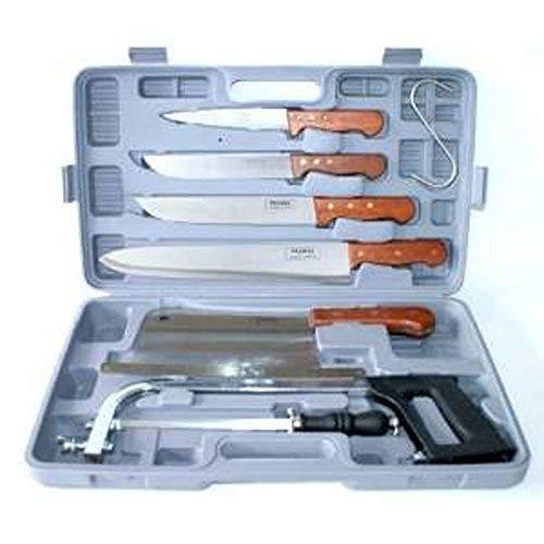 Pradel Excellence K31128 Valigia 7 Pezzi 4 coltelli da Macellaio + 1 affilatoio + 1 Sega + 1 Grande falcetta