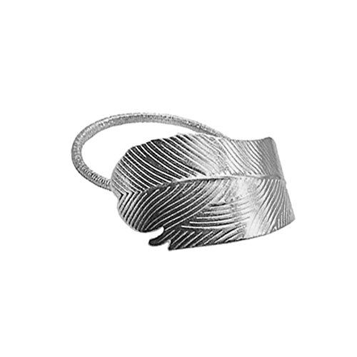 Frcolor 1 serre-tête élastique en alliage avec feuille pour queue de cheval, accessoire pour cheveux pour femme (argenté).