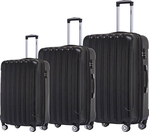 BEIBYE TSA Schloß 2050 Hartschale Trolley Koffer Reisekoffer in M-L-XL-Set (Schwarz, Set)