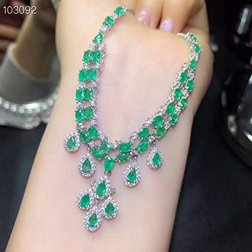 GMZTT Klassische natürliche Smaragdkette, königlicher Stil, weltberühmter Edelstein, Gute Qualität, 925 Silber.