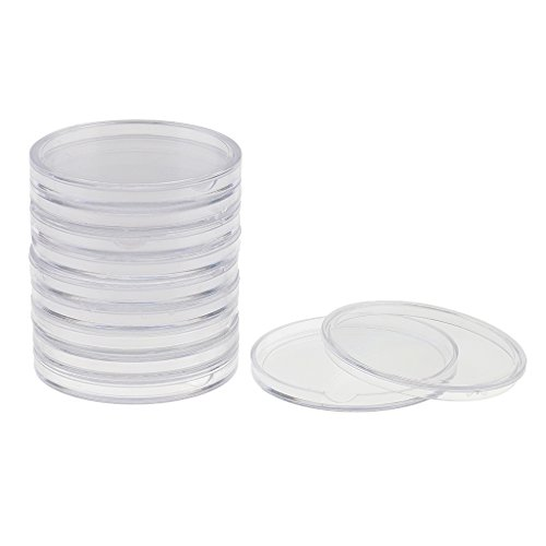 Dovewill 10 Pieces Coin Capsules Containers Holders Plastic Round Coin Case Boxes – 46mm