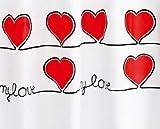 Gedy rot Herzen Duschvorhang, extralang, 180x 200cm und Ringe