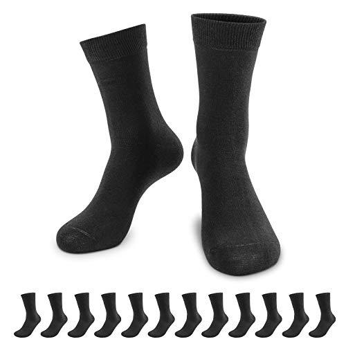 QINCAO Socken Herren Damen 12 Paar Sport Schwarz Baumwolle Lange Komfortbund Socks(Schwarz ×12, 43-46)