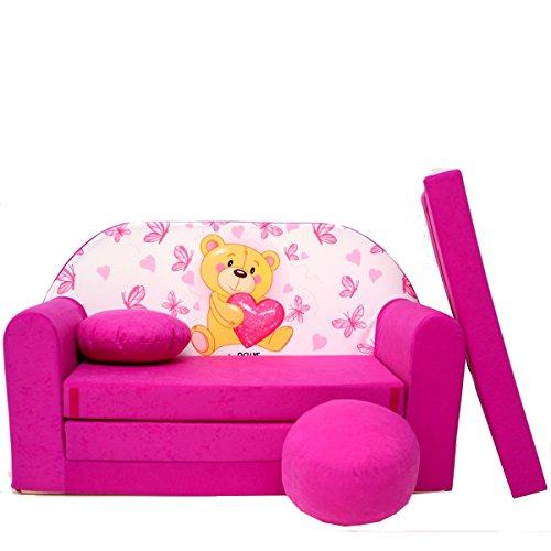 Kindersofa Kinder Sofa Couch Baby Schlafsofa Kinderzimmer Bett gemütlich verschidene Farben und motiven (H3 rosa Teddy mit Herz)