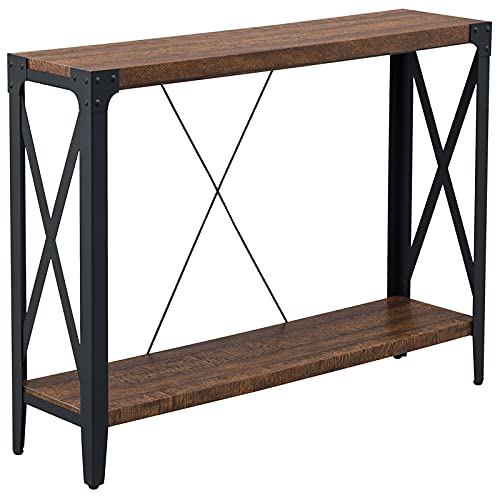 OKD Console Tables for Entryway, Hallway Table, Entrance Tables, Industrial Long Tables for Living Room, with Storage and X-Frame Open Shelf, Easy Assemble, Reclaimed Barnwood Color