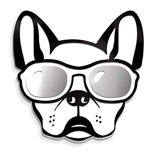 4ArtWorks - Cool Dog 3D French Bulldog with Sunglasses Wall Art - Silver Mirror Finish Glasses - For Frenchie, Dog & Street Pop Art Lovers - Made in the USA - Modern Home Decor (13'W x 13'T, Silver)