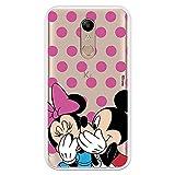 Funda para LG K11 - K10 2018 Oficial de Clásicos Disney Mickey y Minnie Lunares Rosas para Proteger tu móvil. Carcasa para LG con Licencia Oficial de Disney.