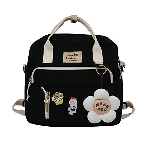 Kawaii Canvas School Backpack with Pendant, Laptop Shoulders Bag, Back to School Off to College Supplies (Black)