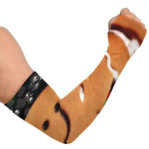 Uv couvrant les bras de Noël magique homme en pain d'épice et gant à rayures rouges hommes manches bras bras couvrir pour les femmes couverture de bras en soie glacée unisexe pour courir cyclisme con