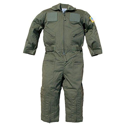 Trendy Apparel Shop Kid's US Pilot Flight Suit Uniform with Hook and Loop Patch - Olive - XXS