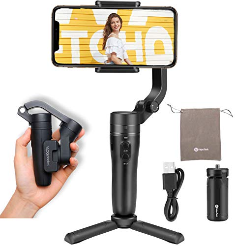 FeiyuTech Vlog Pocket Foldable 3 Axis Smartphone Handheld Gimbal Stabilizer for iPhone 11 Xs Max Xr X 8 Plus 7 6 SE Android Smartphone Samsung Galaxy S9+ S9 S8+ S8 S7 ,240 g Payload,-Black