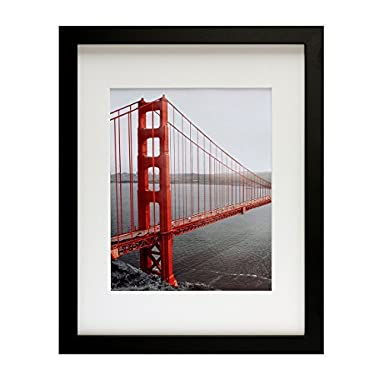 Frametory, 11x14 Black Picture Frame - Made to Display Pictures 8x10 with Mat or 11x14 Without Mat - Wide Molding - Pre-installed Wall Mounting Hardware