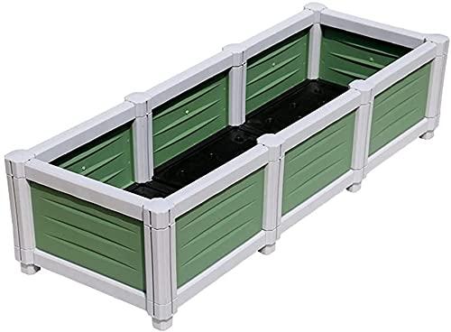 GXBCS Jardineras Huerto Urbano Kit de Caja de Cama de jardín elevada, macetas cuadradas de plástico apilables, macetas para Plantas, Flores, árboles Vegetales 092(Size:73x39x26cm)