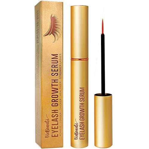 VieBeauti Premium Eyelash Growth Serum and Eyebrow Enhancer, Lash boost Serum for Longer, Fuller Thicker Lashes & Brows (3ML) (Gold), 0.1 Fl Oz